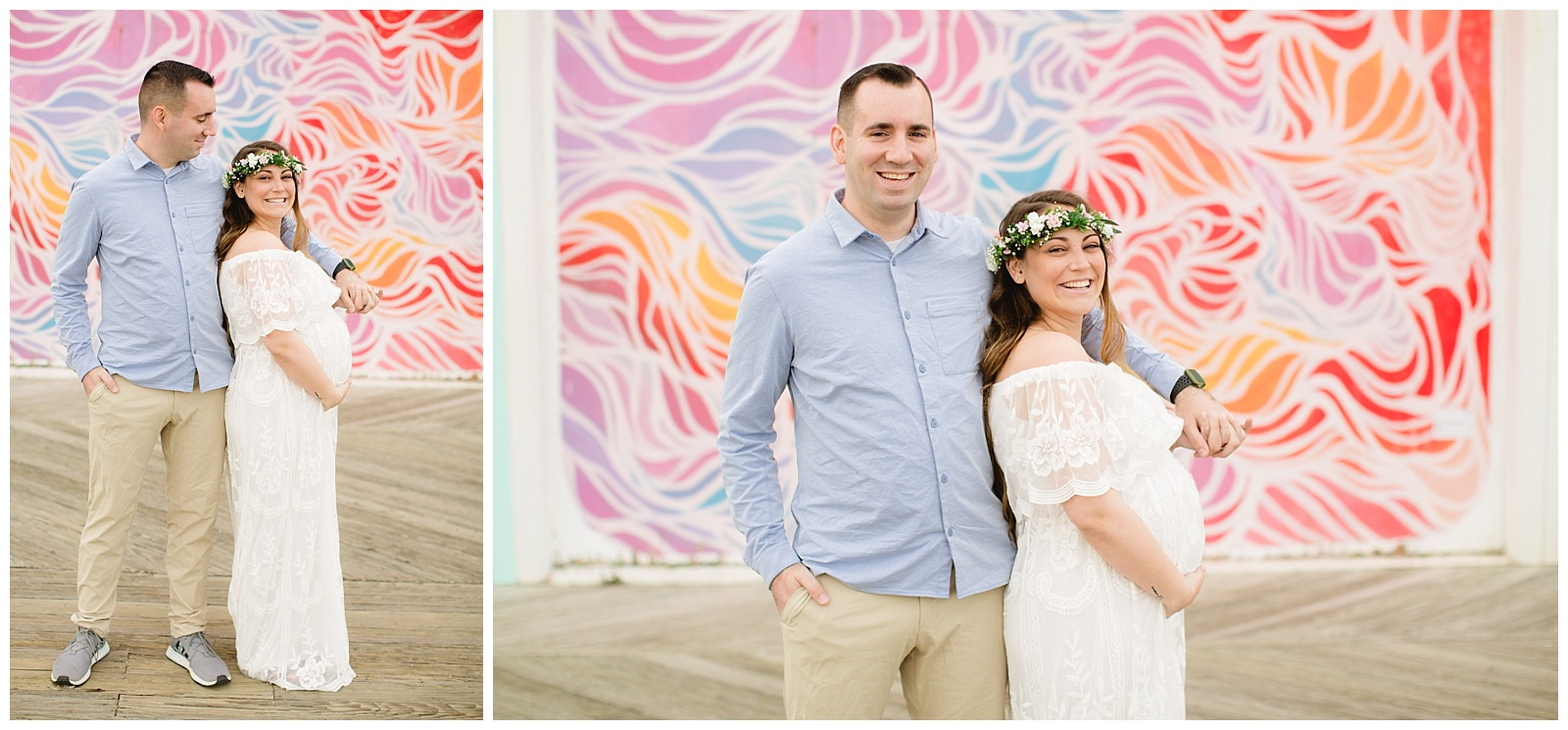 asbury park maternity session sunset maternity sesssion mom to be beach maternity session flower crown photo inspo